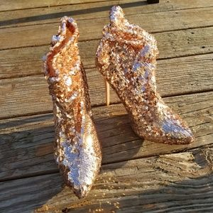 Liliana Gold Sequin Heeled Slouch Booties 7